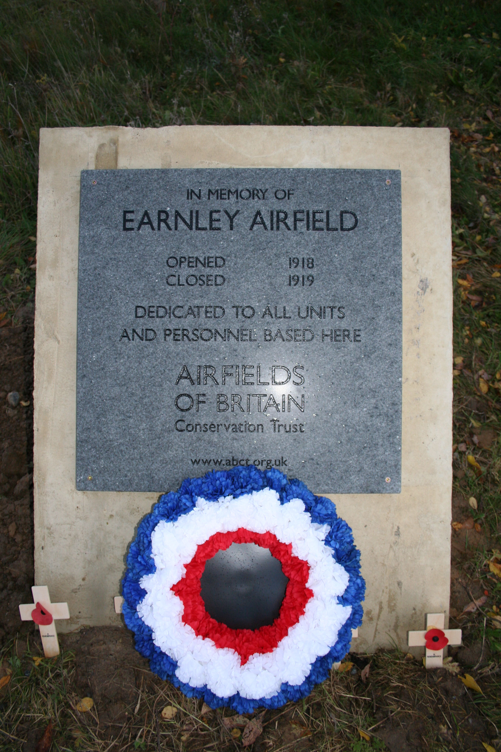 Earnley Airfield Commemrative plaque with raf wreath