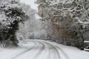 almodington lane in the snow