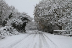 snow on road